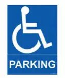 Icon of a disability parking sign with a person in a wheelchair with the word PARKING underneath on a blue background.