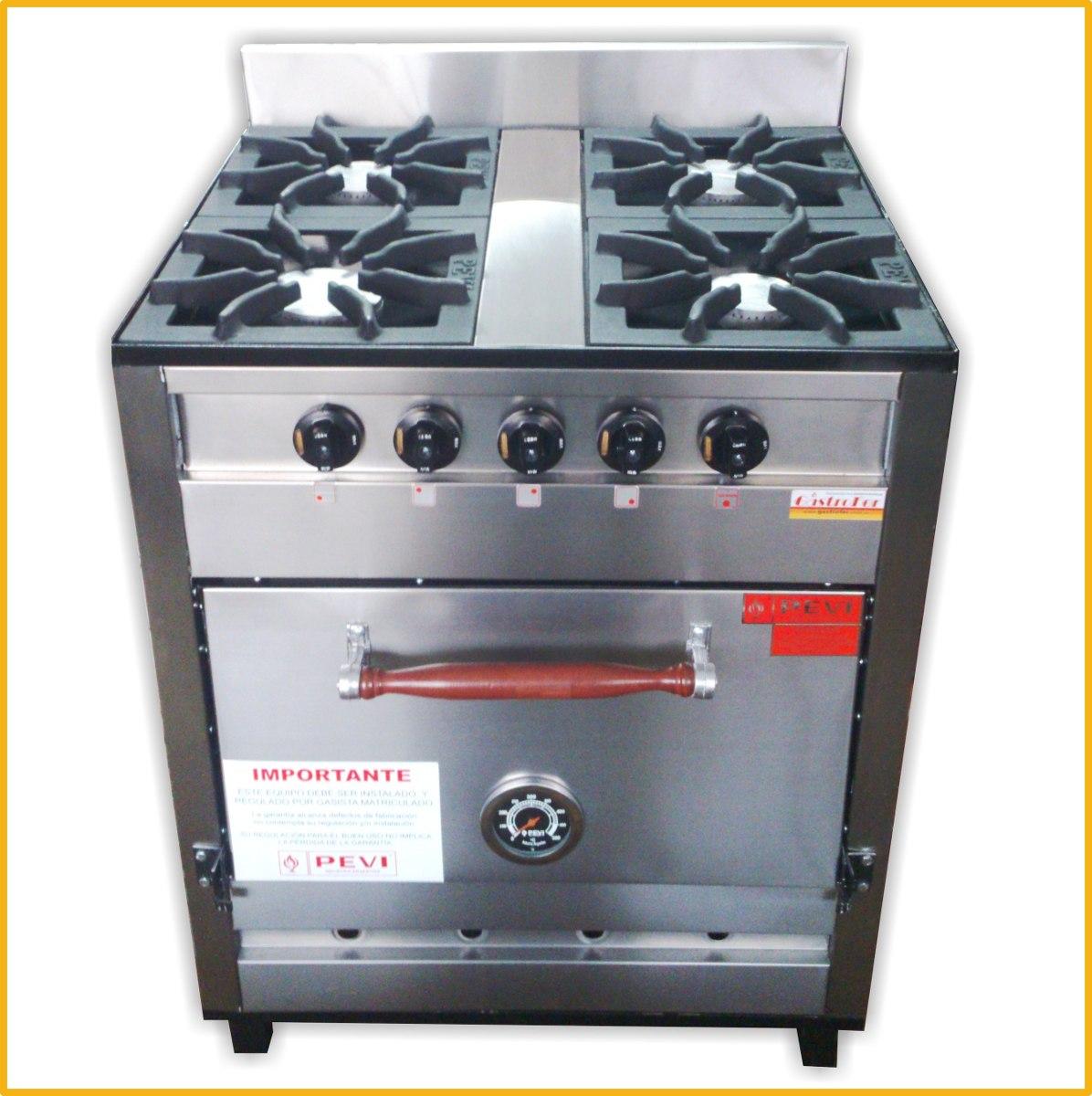 Cocina Industrial Familiar Pevi 4 Hornallas Acero Inox 70 Cm   789999 en Mercado Libre