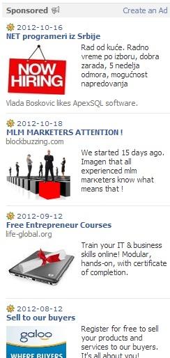 Ovo su Facebook reklame.