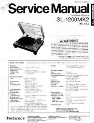 Manual De Serviço Tecnico Technics Sl-1200 Mk2, Mk5, M3d