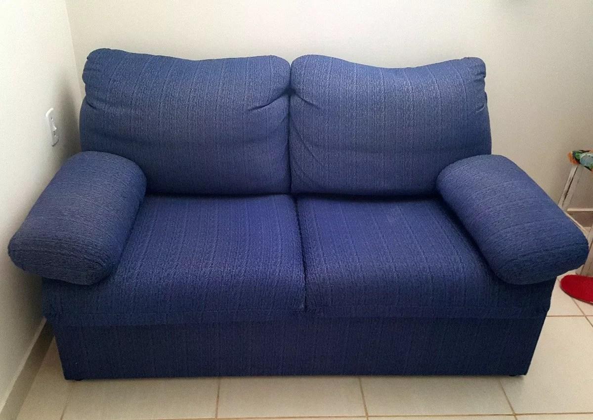 sofa cama usados distrito federal chesterfield velvet bed sofas ventro em tecido azul super conservado estrutura de metal