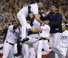 Image result for Rays win pennant 2008