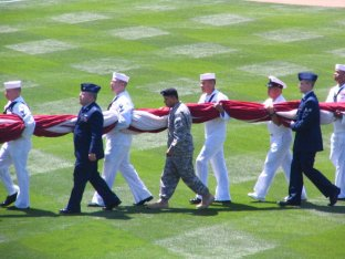 DODGERS_ODAY 2010 ARMED FORCES CARRYING THE FLAG