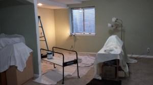Starting to paint the studio, November, 2014