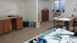 New Studio, Sewing station, work counter, cutting table and storage corner