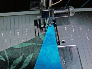 Top fabric for acute angle piecing