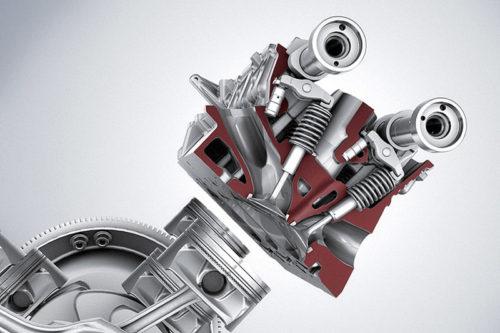 Presek glave motora s 4 ventila po cilindru i 2 bregasta vratila (Daimler AG)