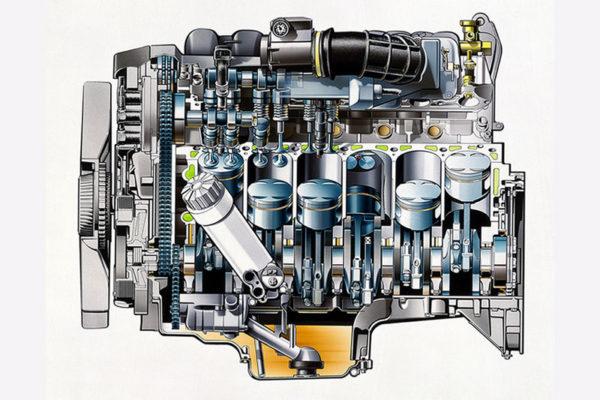 Tzv. 'vodeni džepovi' odn. kanali za rashladnu tečnost su obojani zeleno (Daimler AG)