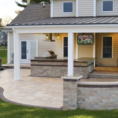 Patio Kitchen Delta Faucet Covered Outdoor With Tv And Stone Landscaping