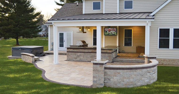 patio kitchen rugs covered outdoor with tv and stone landscaping