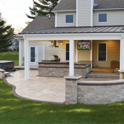 Covered Outdoor Kitchen Ideas Pictures With Tv And Stone Patio Landscaping