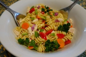 Chicken pasta salad with mustard dressing