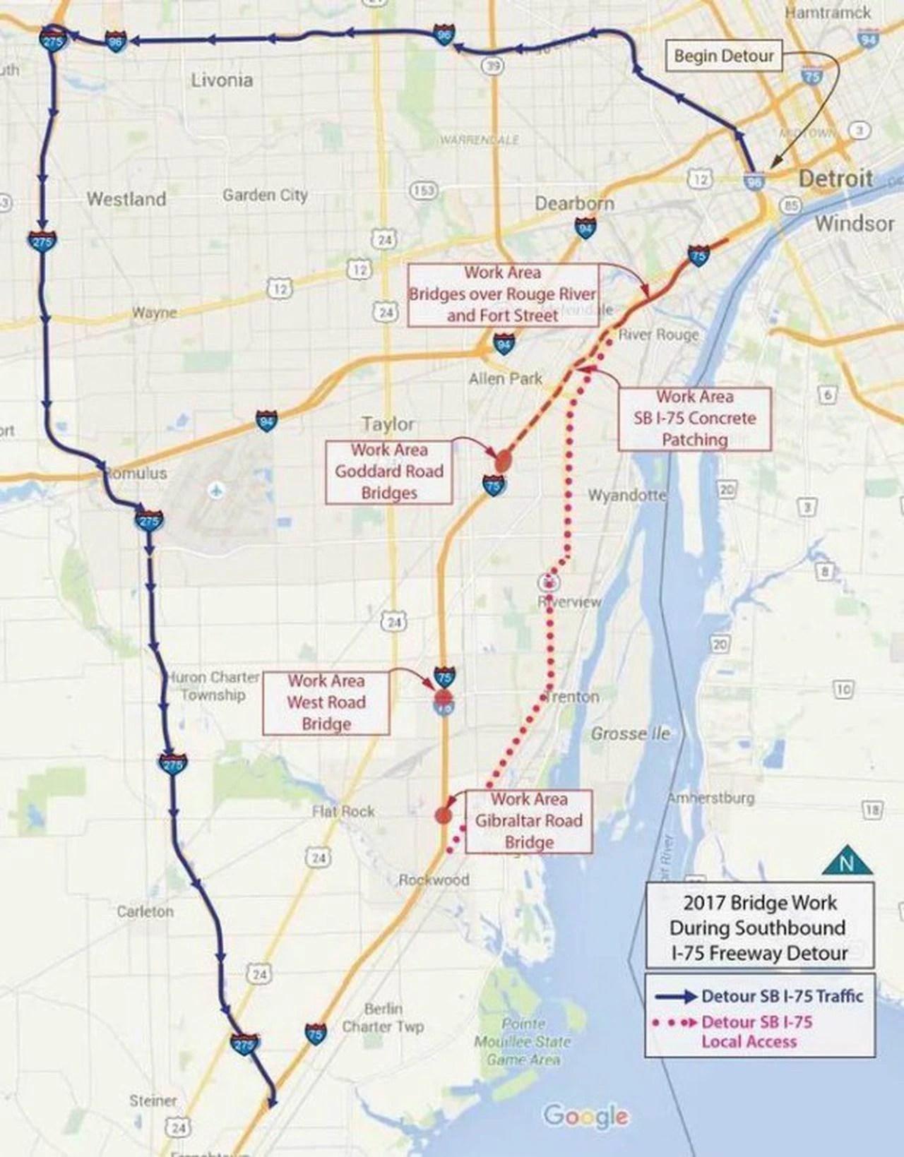 I-75 Closure Detroit Map : closure, detroit, Two-year, Shutdown, Stretch, Begin, February, Mlive.com