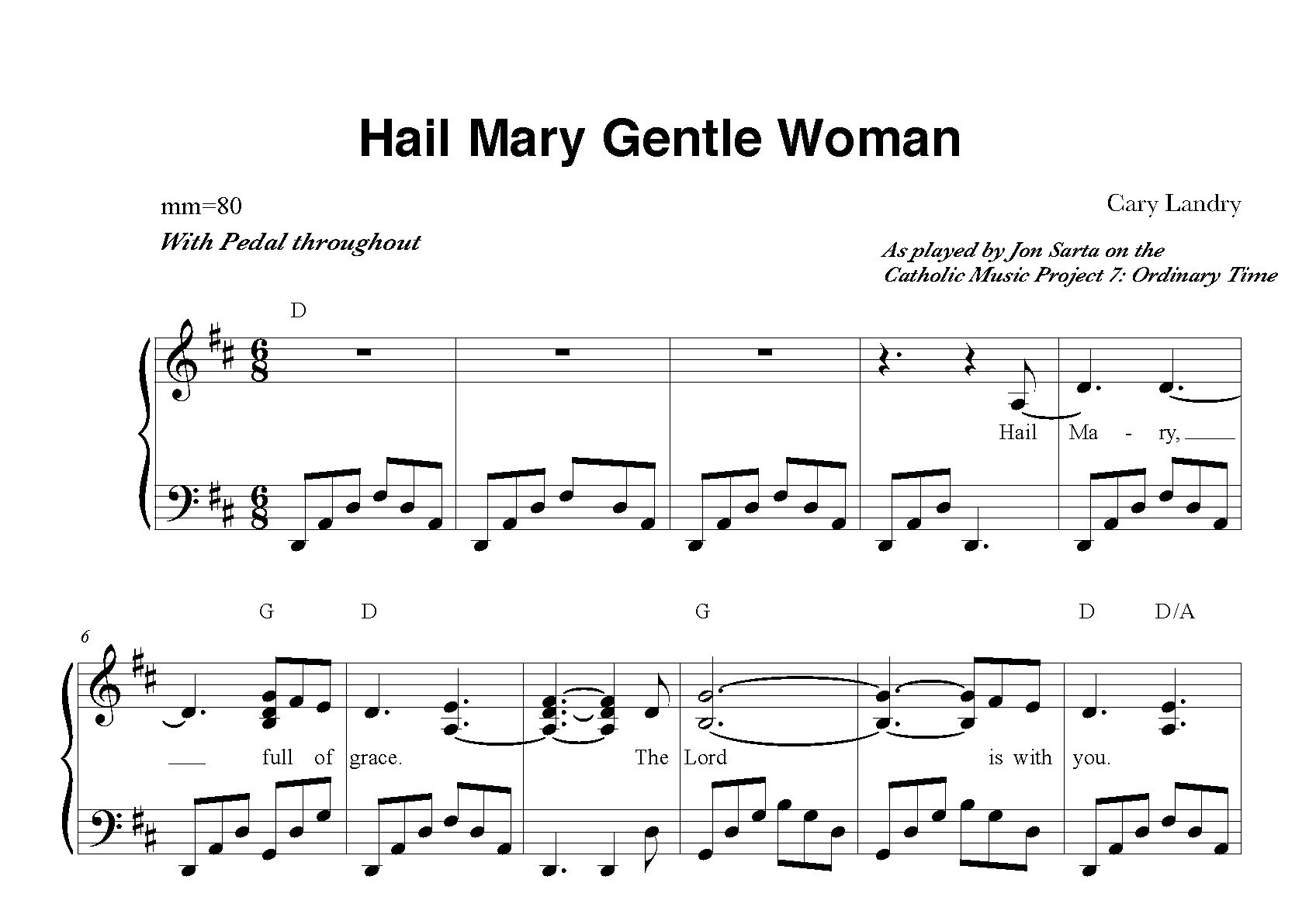 Hail Mary Gentle Woman Sheet Music Jon Sarta Piano