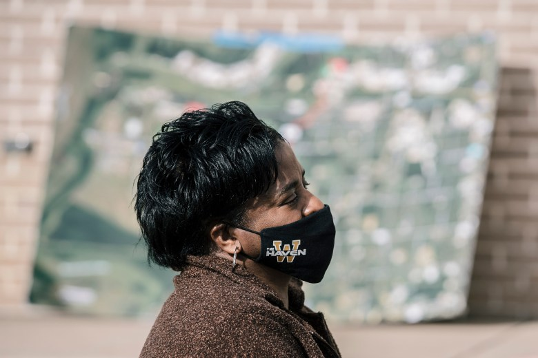 Marie Odum, in profile, wearing a Whitehaven face mask, attends a rally against the Byhalia Connection Pipeline.