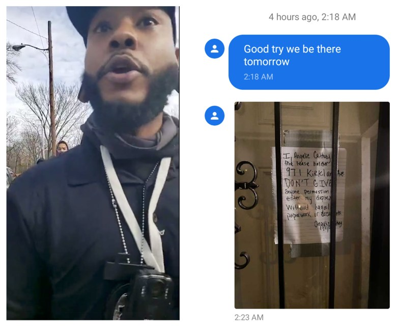 Two photos side-by-side. Image one is a still from a video of Antonio Frazier wearing a black shirt, black ball cap, a badge and lanyard. Image two is a photo of a front door with a note on it stating the homeowner does not give anyone permission to enter without legal paperwork.