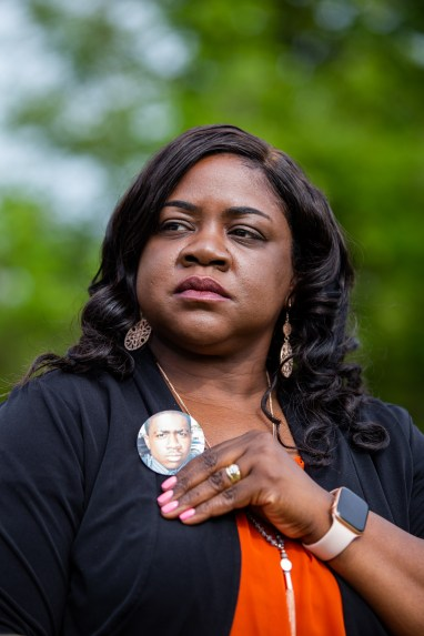 Portrait of Sharmaine Brown whose son was shot and killed