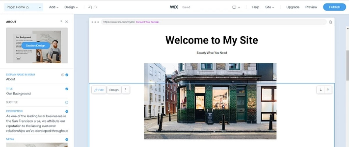 Editor do site Wix ADI