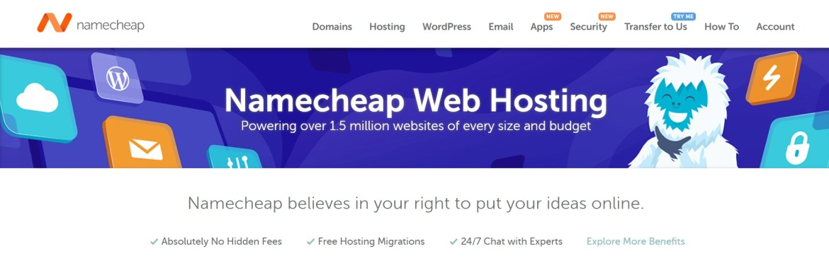 The Namecheap web hosting page.