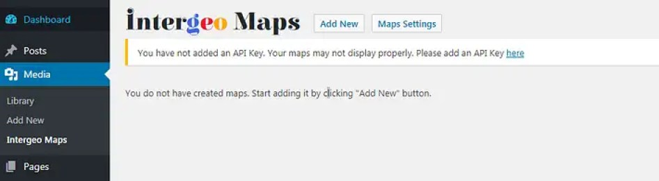 Alert about the Google Maps API.