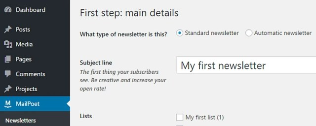 Picking a subject line for your WordPress email campaign.