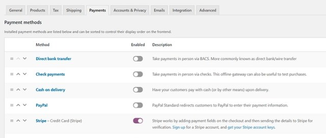 WooCommerce payment settings.
