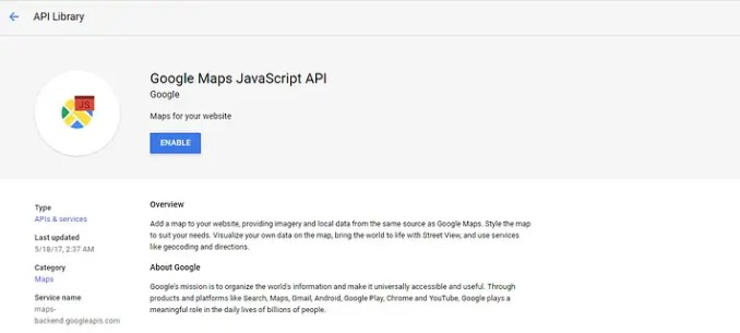 Button to enable the Google Maps API.
