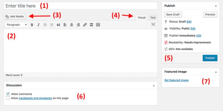 WordPress add page