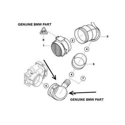 Codo De Admision Aire Bmw E46 E36 E38 E39 Hacia Sensor Maf
