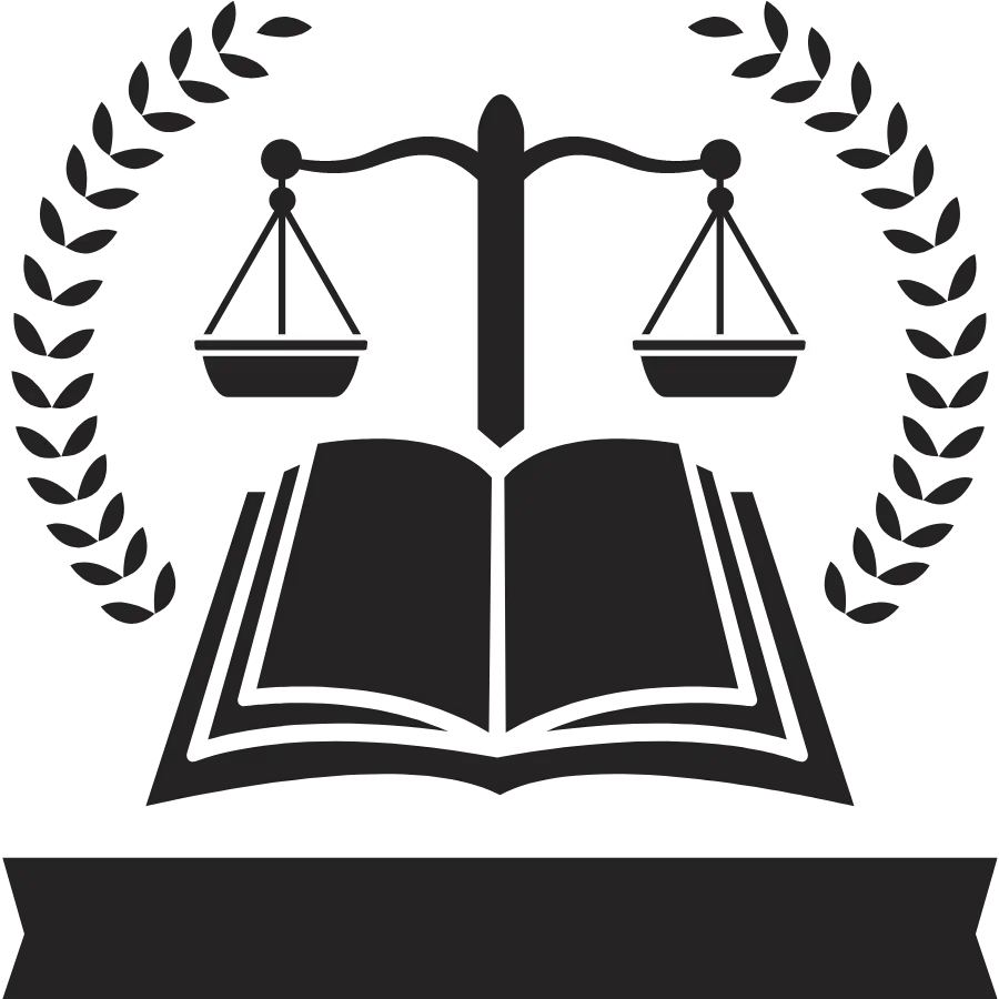 Clip art image of the scales of justice over an open law book.