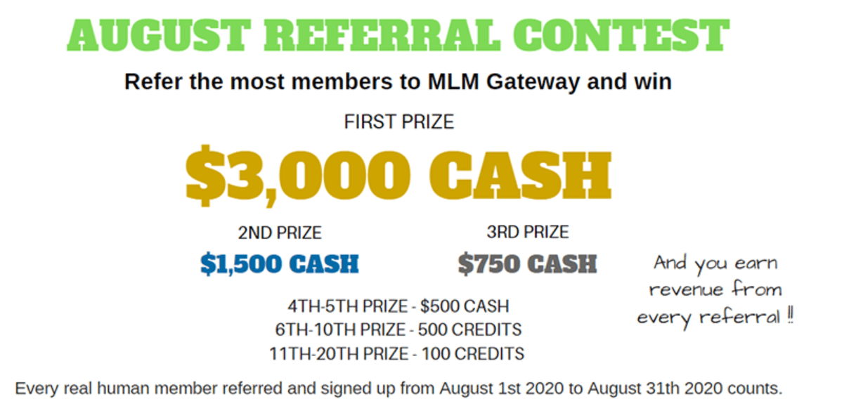 Aug Referral Contest