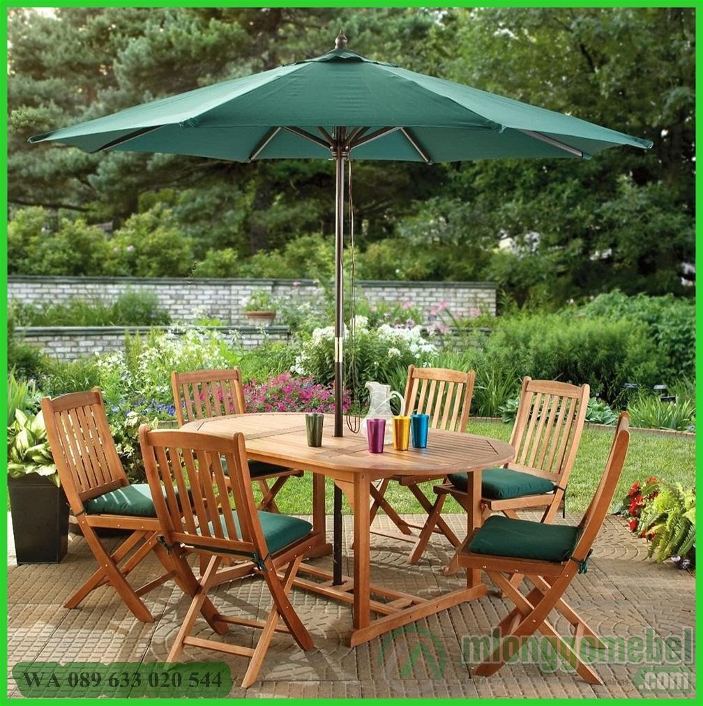 set meja payung taman dengan 6 kursi