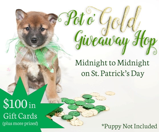 St. Patrick's Day Puppy Wearing green ribbon with clover coins around him.