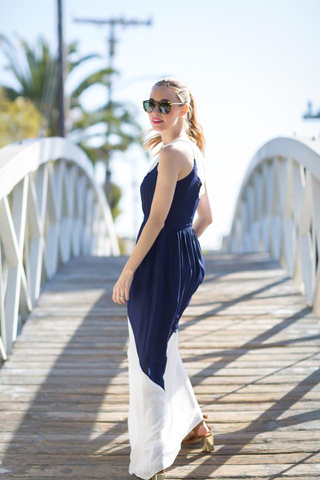 blue and white maxi dress, M Loves M