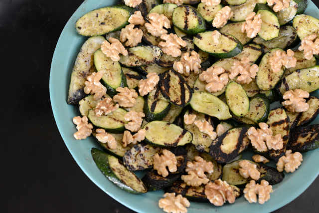 grilled zucchini and walnut salad with mint, M Loves M