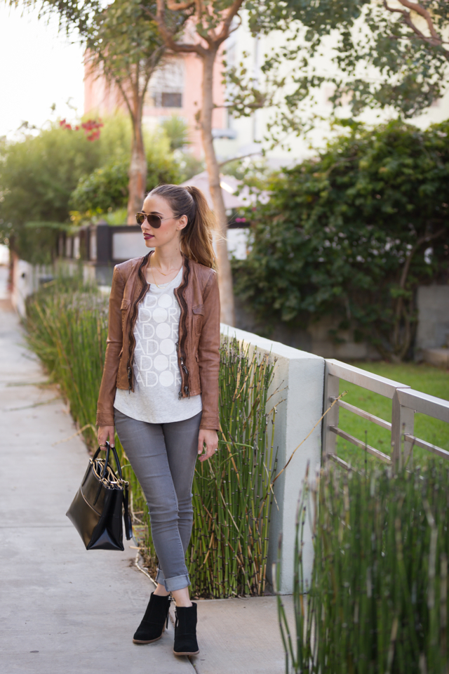 fall denim outfit: gray jeans with printed tee and leather jacket, M Loves M {click through for more photos and product info}
