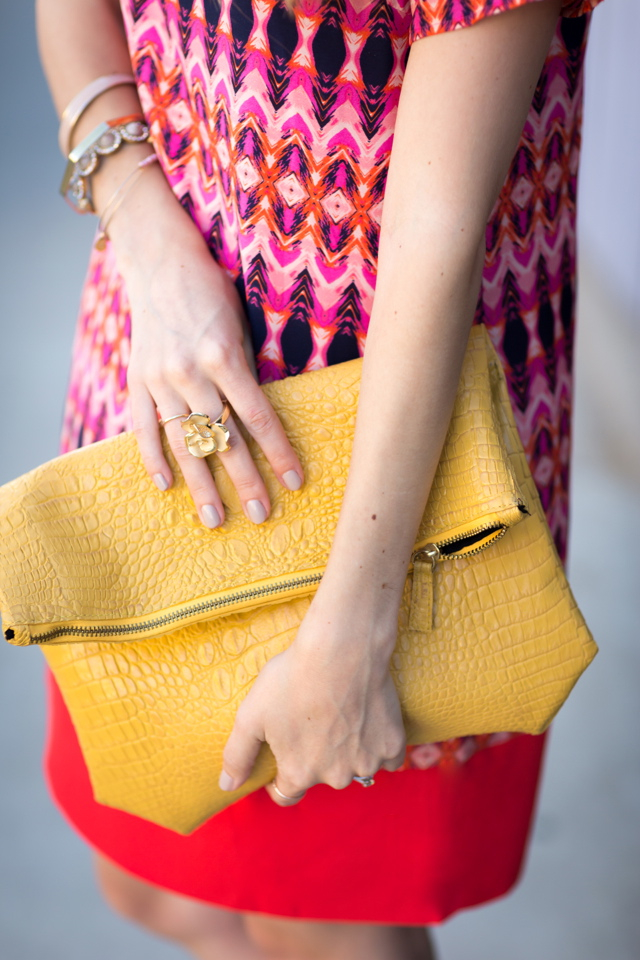 mustard leather clutch, M Loves M