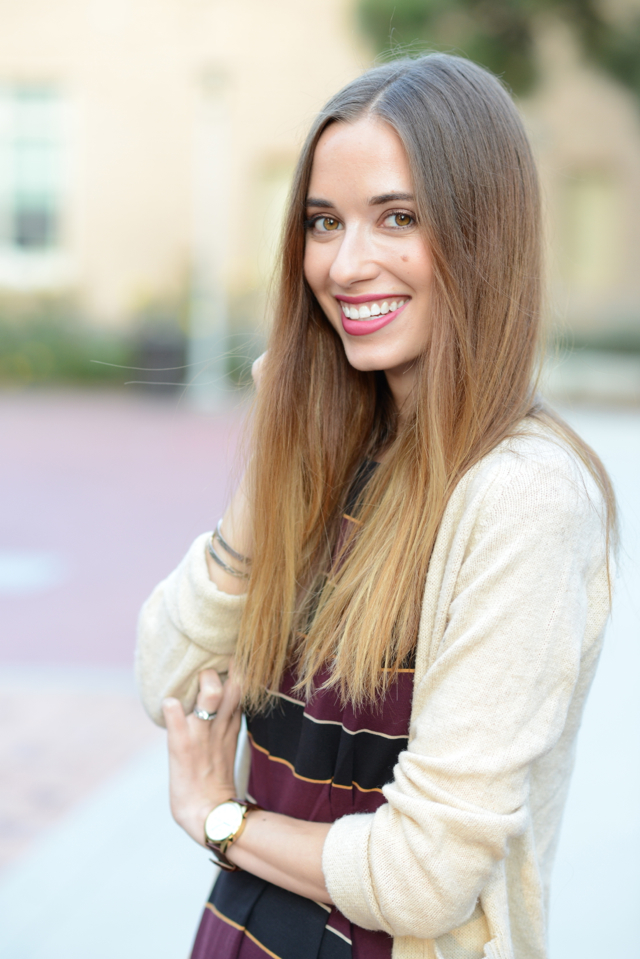 striped dress with oatmeal sweater via M Loves M