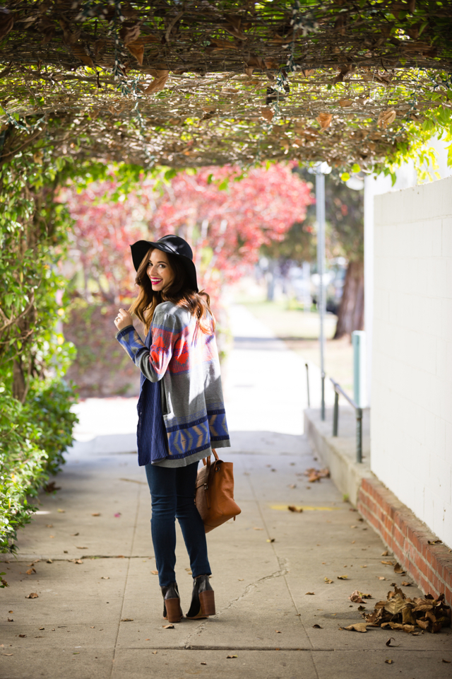 fall outfit with printed maxi cardigan and jeans via M Loves M @marmar