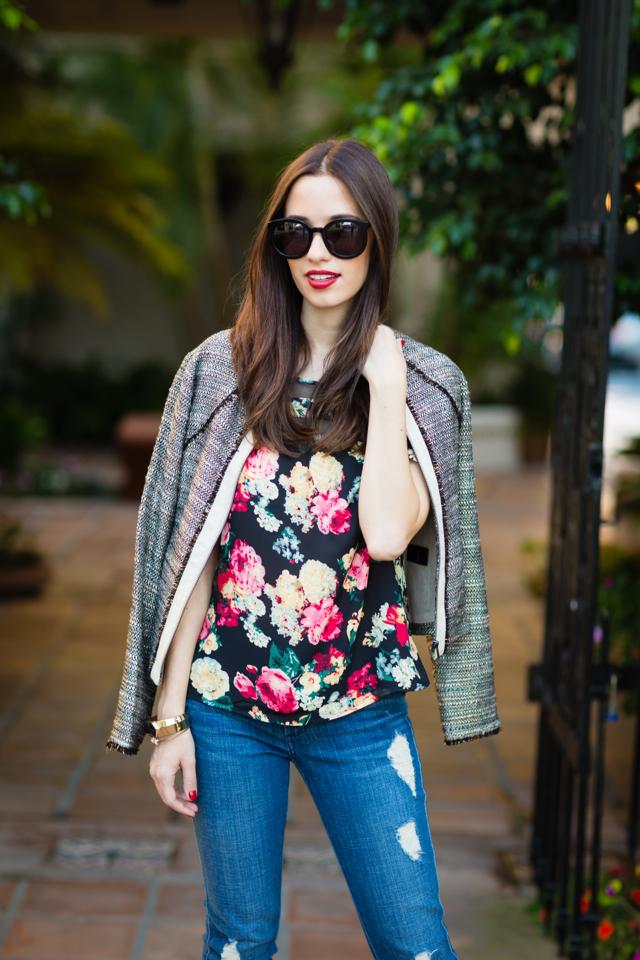 tweed jacket with floral blouse via via M Loves M @marmar