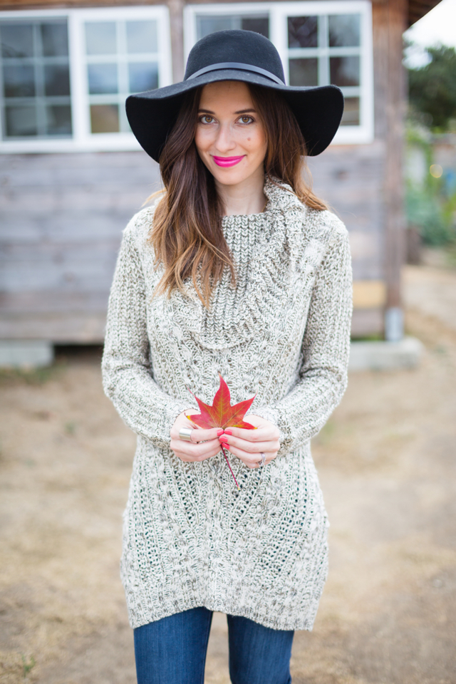 turtleneck tunic sweater and black hat on M Loves M @marmar