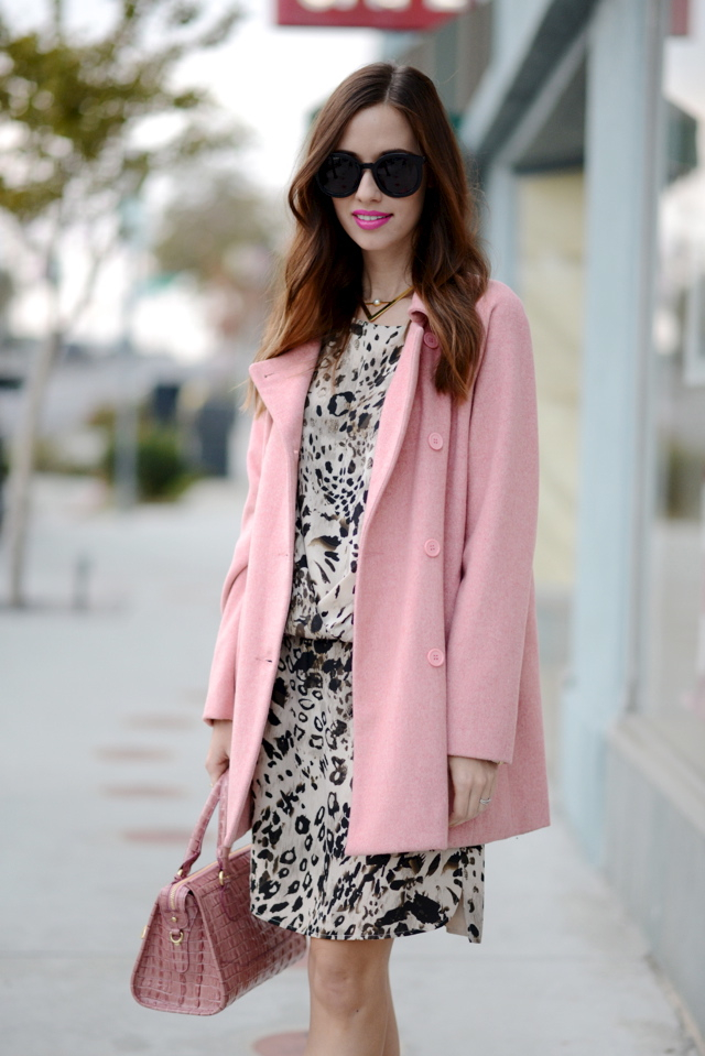pink Tulle coat with Vince Camuto leopard print dress on M Loves M @marmar
