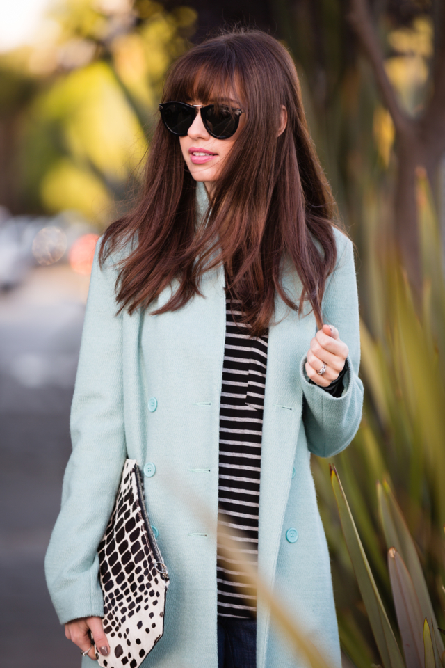light blue mint coat with striped top via M Loves M @marmar