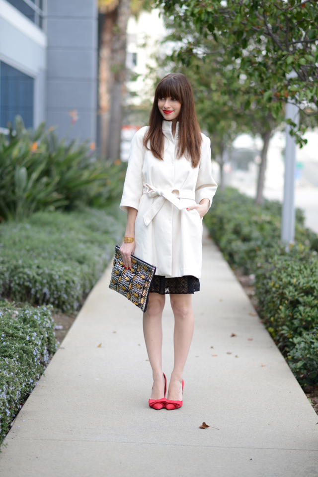 lace dress with white coat on M Loves M @marmar