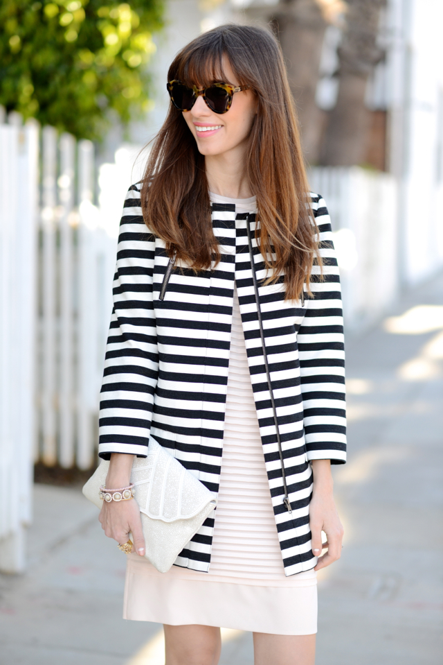striped coat and pink j.crew dress M Loves M @marmar