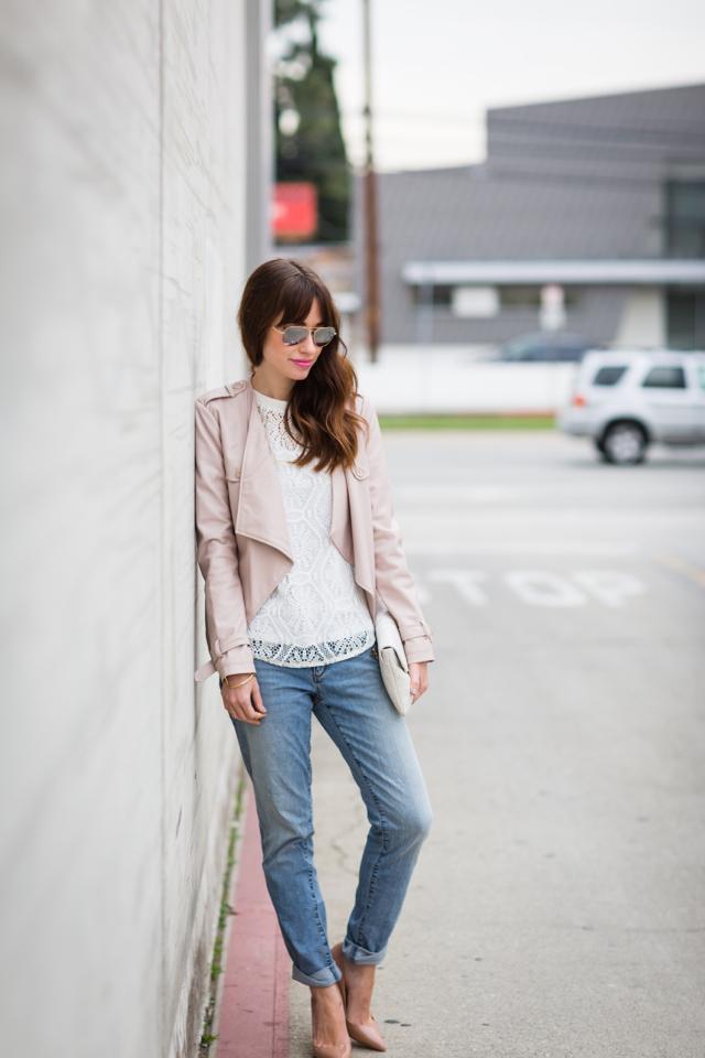 blush pink jacket from bb dakota, loft boyfriend jeans and christian loubouin pigalle pumps M Loves M @marmar