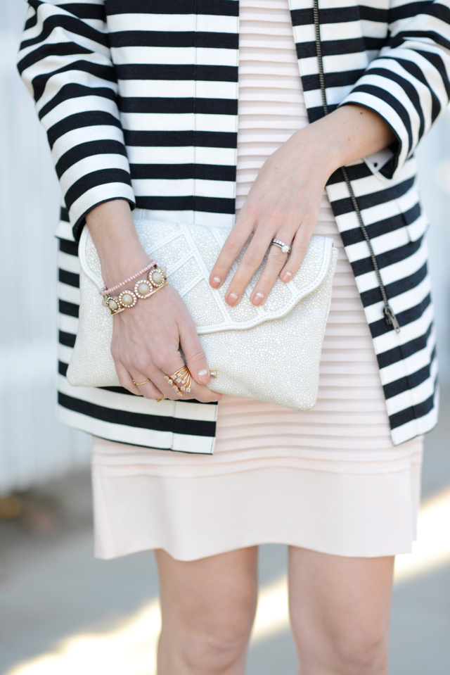 black and white striped coat and pink dress M Loves M @marmar