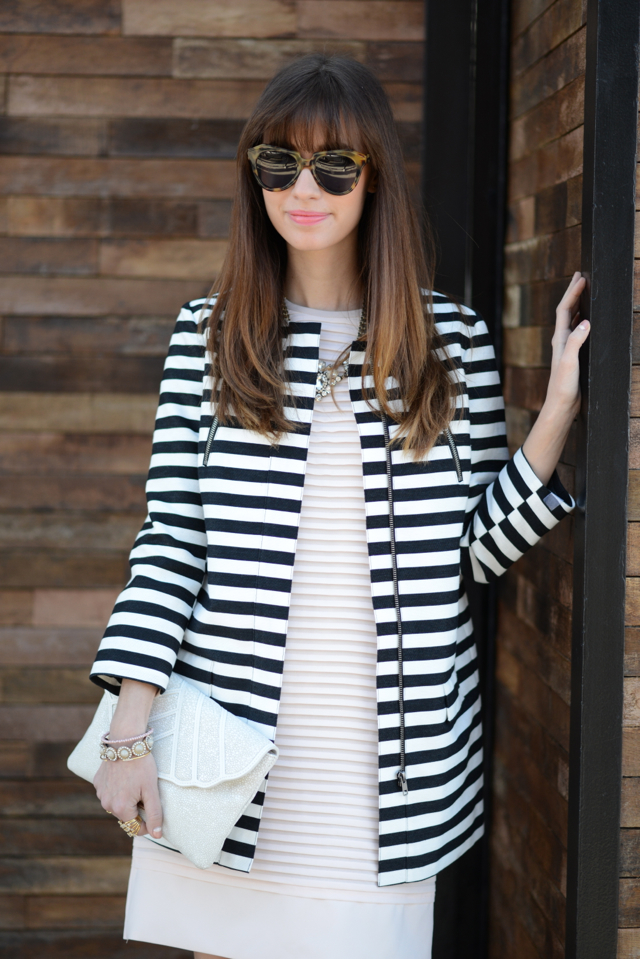 black and white striped coat and pink j.crew dress M Loves M @marmar