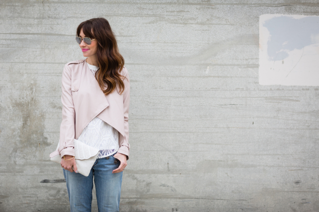 blush pink jacket with white lace banana republic top M Loves M @marmar