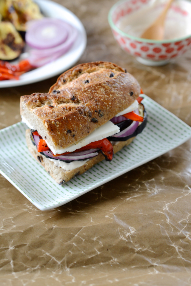 roasted eggplant and bell pepper sandwich with garlic aoli M Loves M @marmar